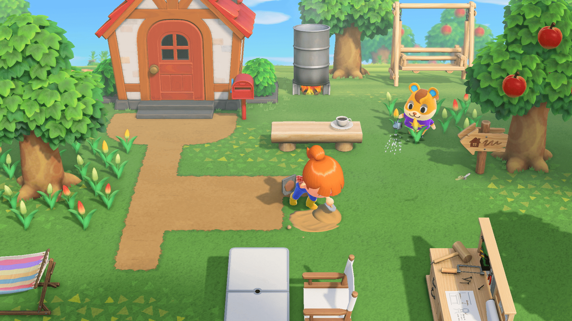 En train de faire un chemin, Animal Crossing : New Horizons