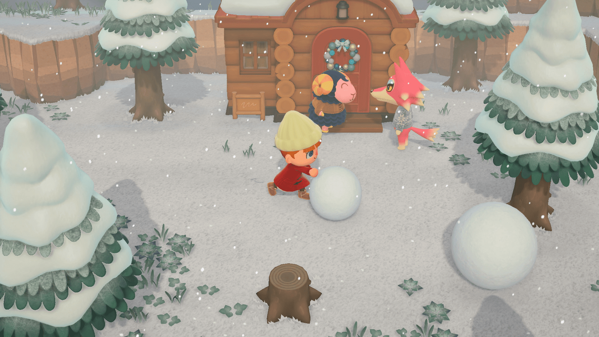 En train de faire une boule de neige, Animal Crossing : New Horizons