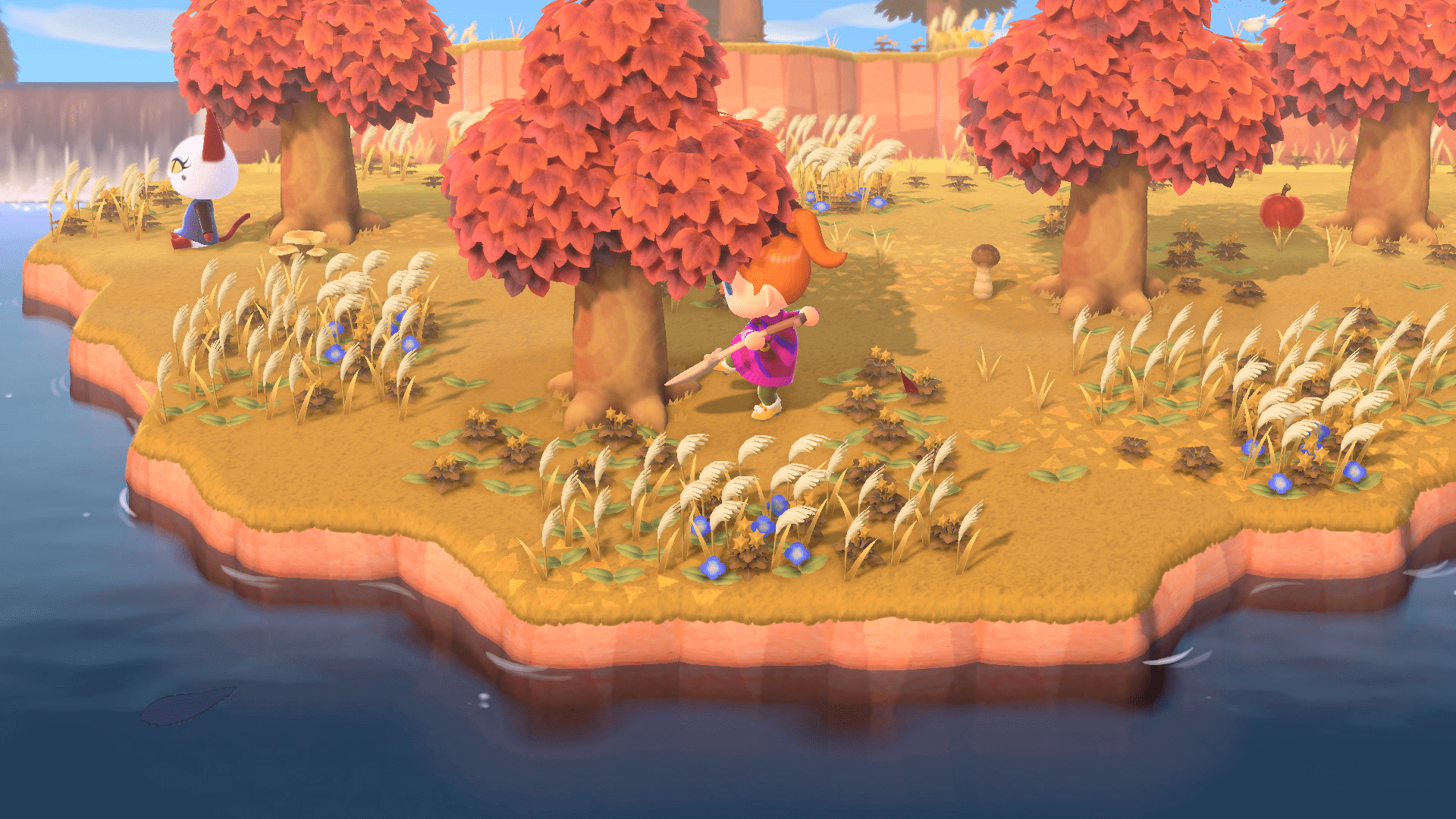En train de déraciner un arbre, Animal Crossing : New Horizons